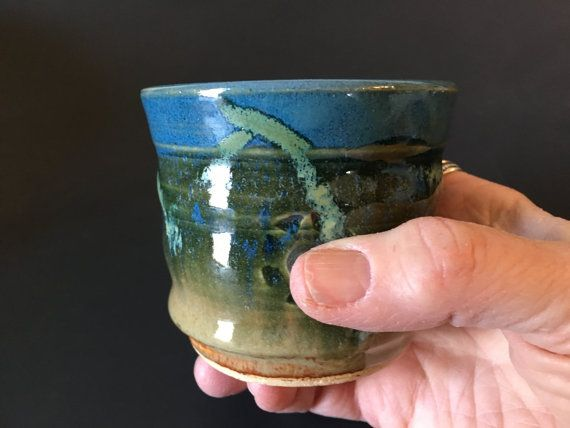 Pottery espresso cup blue and green tea cup-shot glass