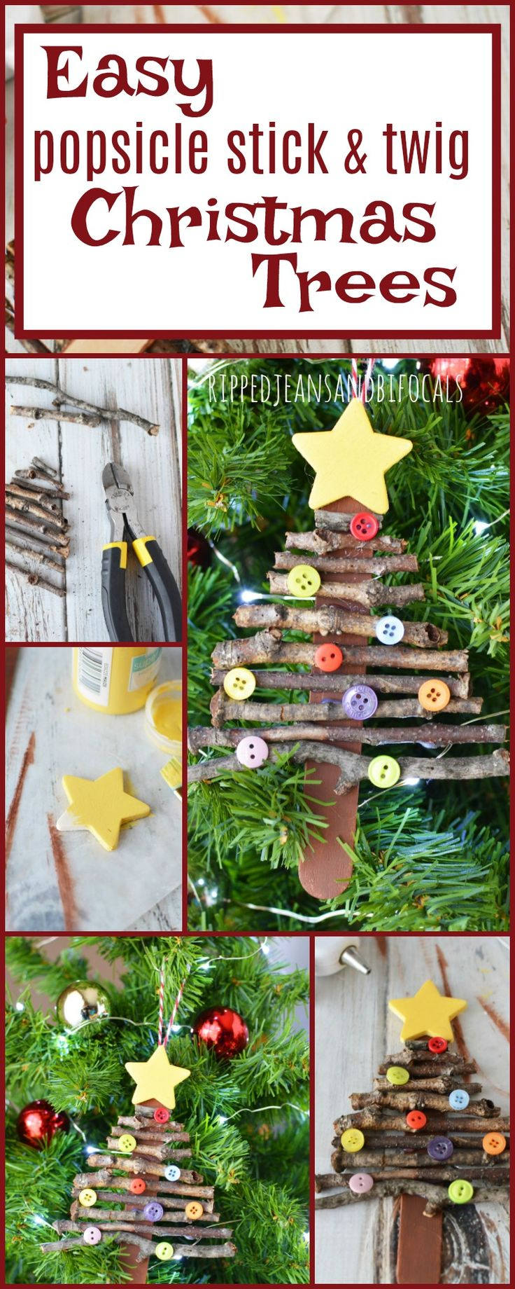 Super easy holiday craft for kids! Popsicle stick Christmas tree ornament Ripped Jeans and Bifocals  Easy Christmas crafts Christmas crafts for kids girl scout troop activities girl scout troop Christmas crafts School Christmas craft Homemade Christmas ornaments Handmade Christmas ornaments Easy Christmas ornaments DIY 