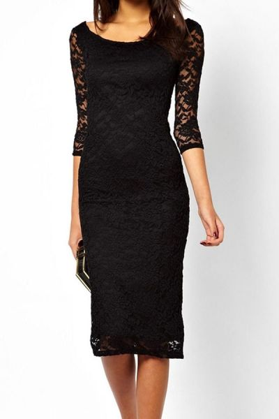 Pretty Lady Black Lace Overlay Evening Midi Dress by: Oasap