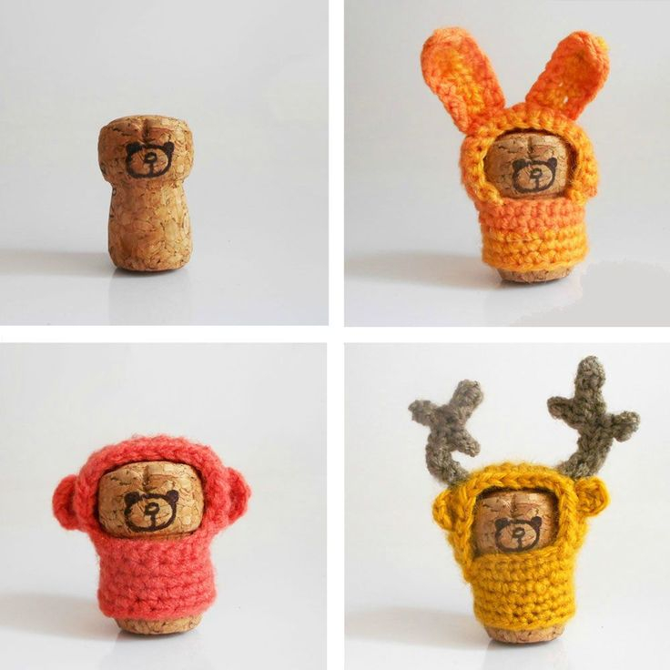 Funny animals made from upcycled corks and crochet!