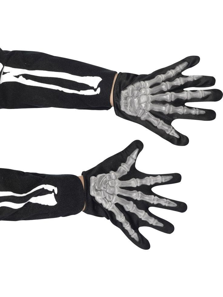 Lasten luuranko-käsineet. Mustissa käsineissä on kuvattuna kämmenen ja sormien luut ja ne ovatkin varsin vakuuttavan näköiset.