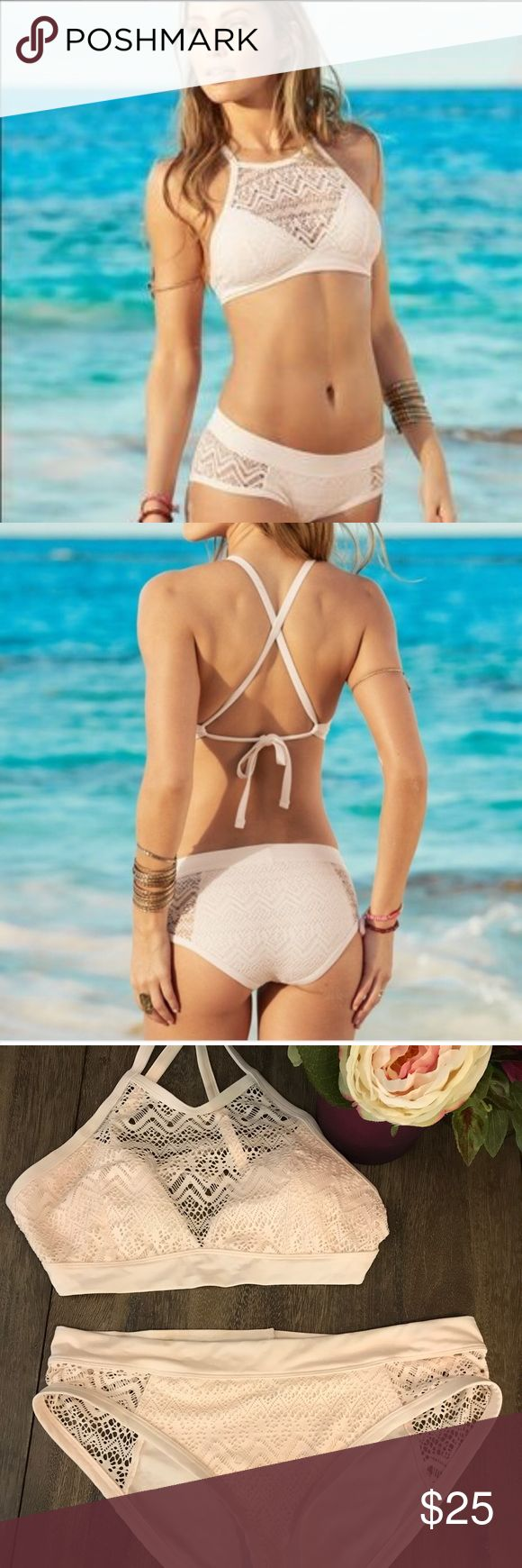Lionna Beige/Cream Crochet Bikini NWT-Large Beautiful Creamy Beige Crochet Lionna Bikini Set in Size Large! Purchased from adore me but decided to buy something else. This is New with Tags! Adore Me Swim Bikinis