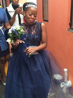 Blue shweshwe wedding dress. Classic