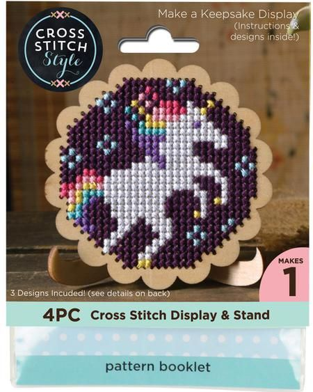 Cross Stitch Style Round Scallop Edge Display With Easel - Cross Stitch Kit. Create a personalized and memorable keepsake with this fun kit! This package contai