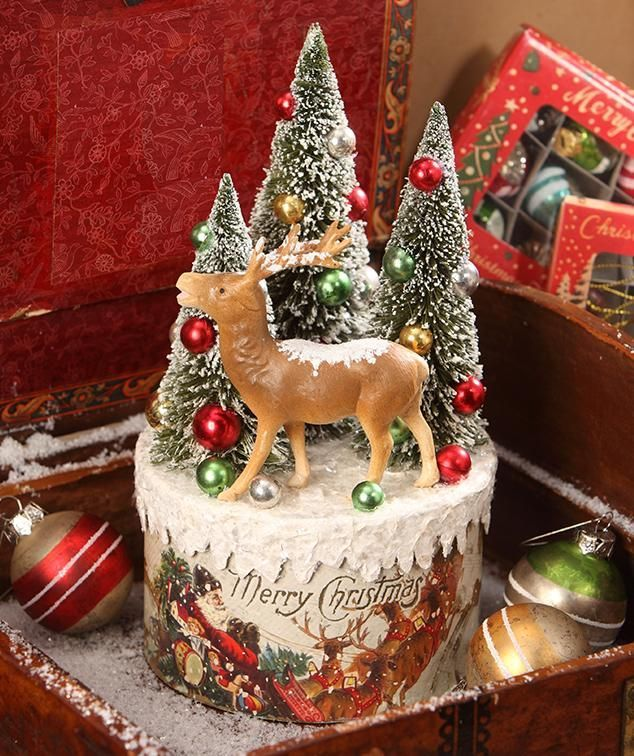 Lowes Christmas Decorations 2019 Traditional Reindeer Vignette on Box | Holiday Decor | Christmas