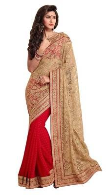 Red chiffon butti with cream net pallu