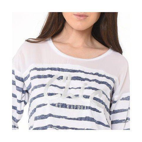 T-shirt marinière bimatière manches courtes à sequins femme Kaporal - Blanc- Vue 3