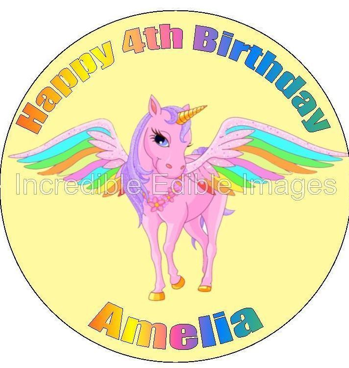 Unicorn Pegasus Rainbow Edible Personalised Cake Topper Party Decoration