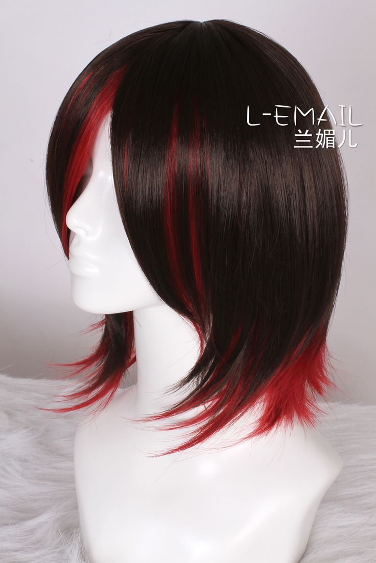 35cm RWBY Red Trailer Ruby Bark brown Red straight cosplay wig