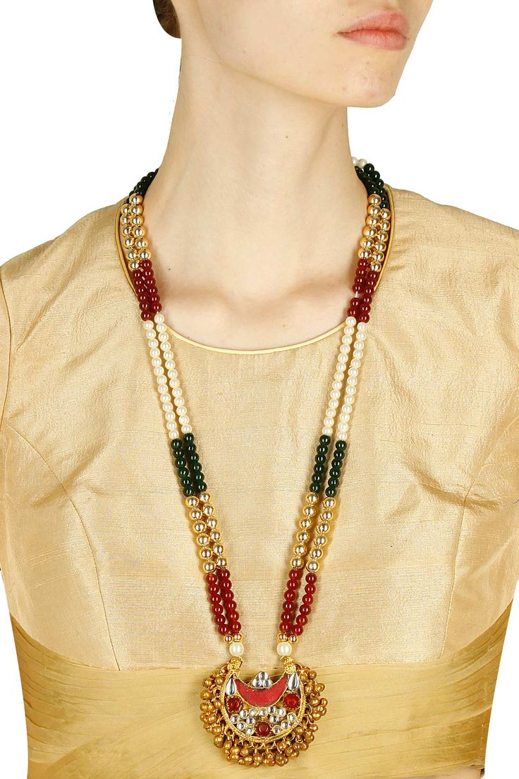 22 carat gold floral designer pendant with multiple beads chain and - Gold Finish Double Layered Multicolour Stones Studded Necklace Available Only At Pernia S Pop Up Shop