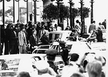 Seventeen days after the 1st assassination attempt on Gerald Ford; as he left the St. Francis Hotel in downtown San Francisco, Sara Jane Moore, standing in a crowd of onlookers across the street, pointed her .38-caliber revolver at him. Moore fired a single round but missed because the sights were off.