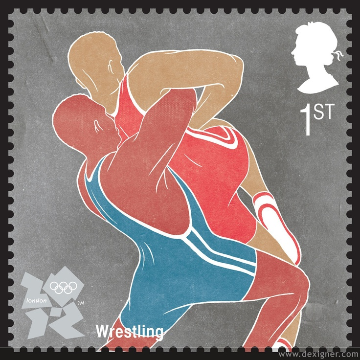 2012 London Olympic Stamp   Wrestling Illustration by Daniel Stolle