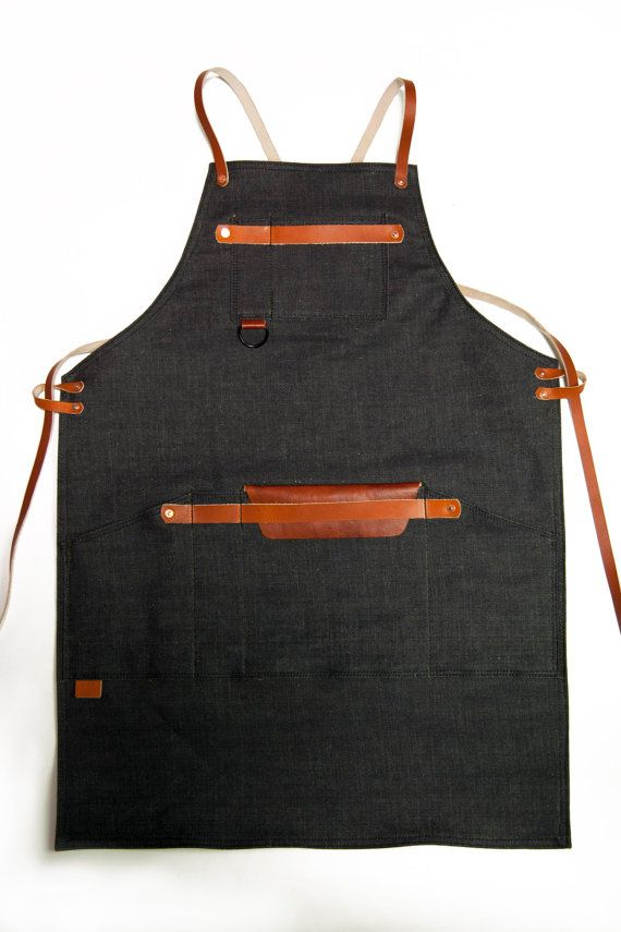 Shop Apron with Cross Back Strap Denim Raw Denim 14oz by 1point61
