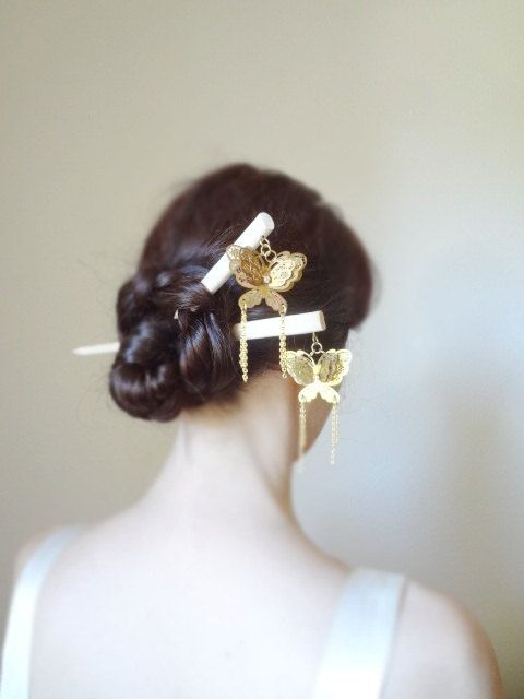 Enchanted magic Bridal luxury brass butterfly by theancientmuse on Etsy.  I've always wished I could do the hair stick thing, but they just slip out!  I've seen girls who effortlessly twist their hair and stick a pencil in it and voila, it's perfect.  Why am I so hair clueless?