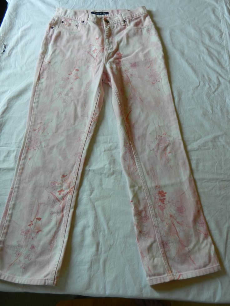 Bill Blass Vintage Womens Jeans Pink Floral Size 6 (runs larger)