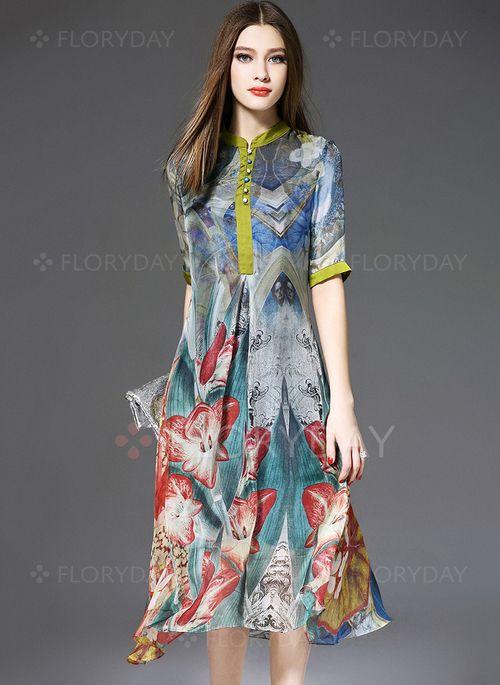 Vestidos de - $69.99 - Seda Floral Manga até a metade do braço Longuete Vintage…
