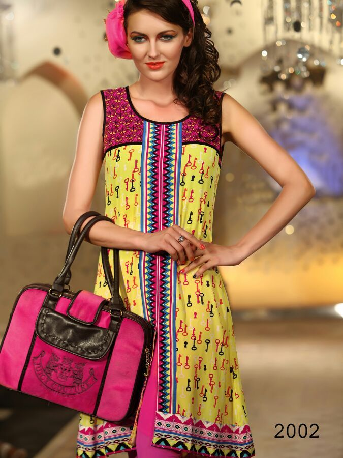 Printed Long Party Wear Yellow Pink Kurti