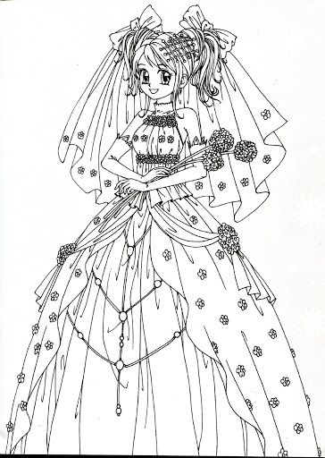 coloring book red princess wedding mama mia picasa albums web - Coloring Pages Anime Princesses