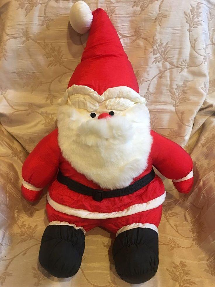 "LARGE Vintage 1990s Santa Plush Parachute Nylon Puffalump Style 18"" #JSInternationalInc"