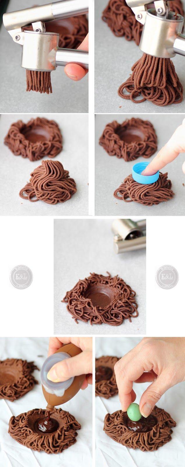 Chocolate biscuit nests Kanela y Limón: Galletas nido de chocolate / Recetas para pascua