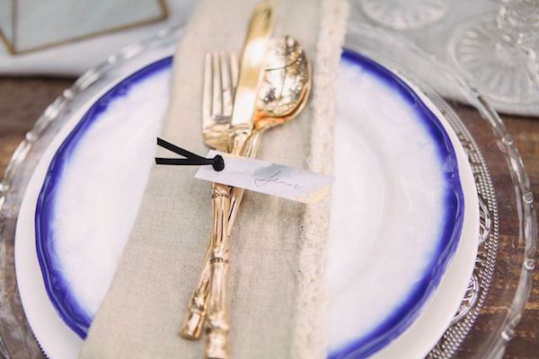 Indigo and Gold Place Setting | Dust and Dreams Photography