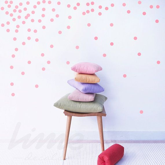 60 2 Confetti Polka Dot Wall decals  Dot pattern by LimeDecals