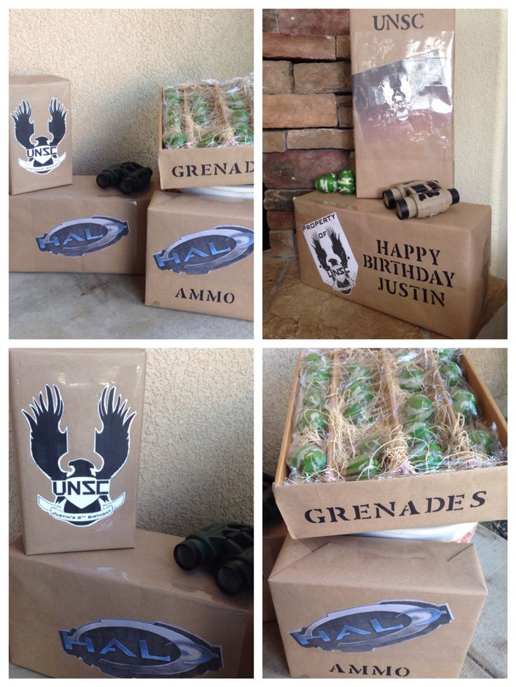 Halo Army Party with homemade Ammo boxes