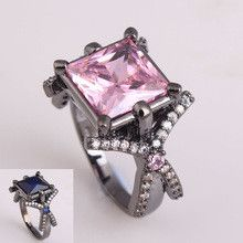 2016 black gold plated women wedding ring for lady party gift jewelry vintage trend pink royal blue Cubic Zircon diamond ring