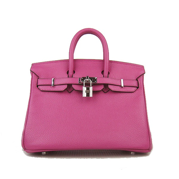 Hermes Pink 25CM Birkin Clemence Leather Bag With Silver HW Product Model: Hermes Birkin 25CM  Availability: In Stock  Color: Pink / Silver  Material: Calf Leather  Size: W25×H18×D13CM  Package: Hermes dust pouch, padlock, keys and key ornaments  Shipping: Free Price: $219