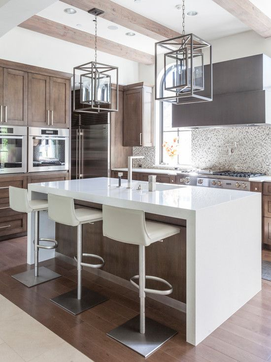 Tranquil Mediterranean Kitchen Design Softly Against the Modern One: Modern Mediterranean Kitchen Design With White Kitchen Island And Modern Kitchen Stool Also Contemporary Lighting