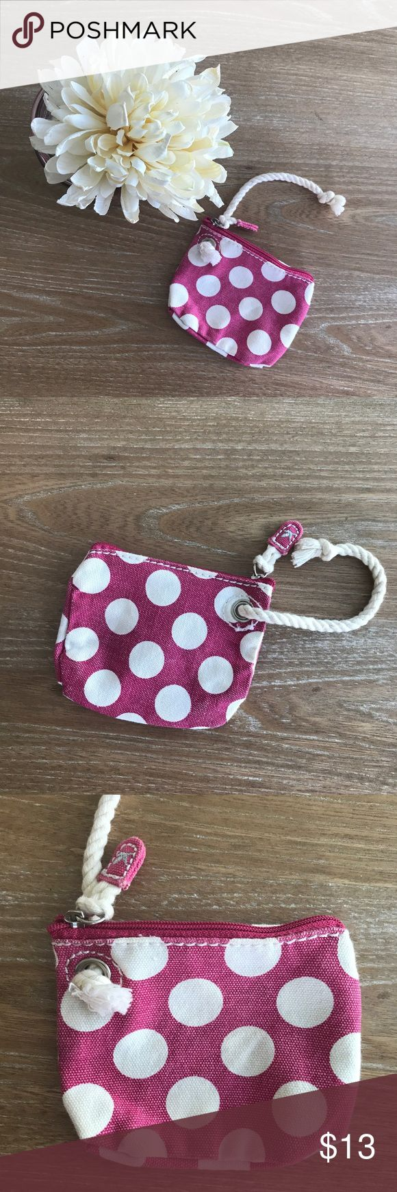 AMERICAN EAGLE POLKA DOTS COIN PURSE 💗Condition: Like New, No flaws, no rips, holes or stains. 💗Smoke free home/Pet hair free 💗No trades, No returns. No modeling  💗 I don't drop prices, make me offers!  💗Shipping next day. Beautiful package! 💗ALL ITEMS ARE OWNED BY ME. NOT FROM THRIFT STORES 💗All transactions video recorded to ensure quality.  💗Ask all questions before buying American Eagle Outfitters Bags Mini Bags