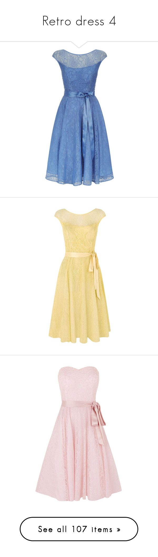 """""""Retro dress 4"""" by erissa ❤ liked on Polyvore featuring dresses, short dresses, light blue, sale, blue lace cocktail dress, light blue cocktail dress, a line prom dresses, blue floral dress, blue lace dresses and yellow"""