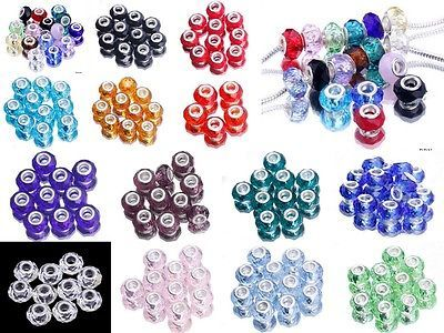 Wholesale Bulk Lampwork Faceted Murano Glass Beads Fit European Charms Bracelets