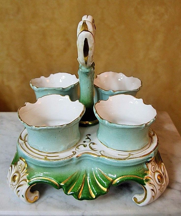ANTIQUE VICTORIAN PORCELAIN HP EGG CUP HOLDER & 4 FOOTED EGG CUPS~RARE #Victorian