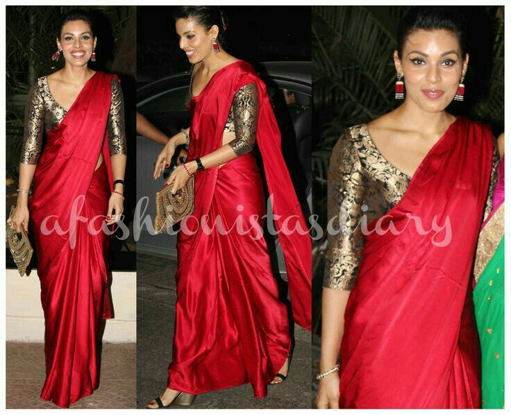 Brocade blouse three fourth sleeves with plain red saree