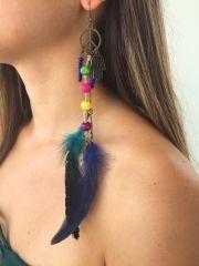 Özgürlük, Hamse ( Fatma Ana Eli), Melek Kanadı, Renkli Kuş Tüyü Bayan Tek Uzun Küpe