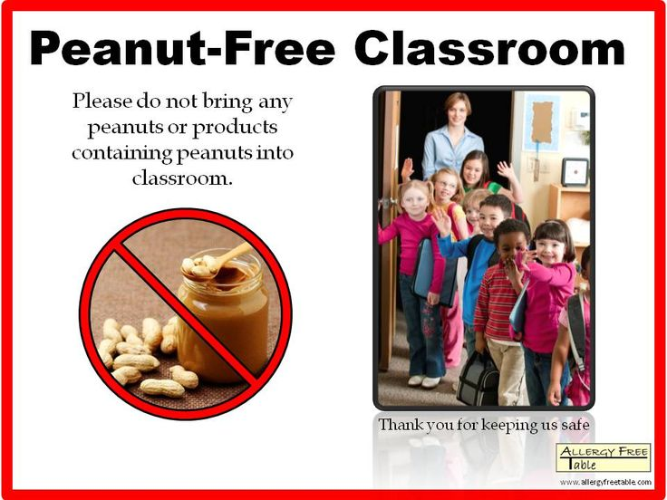 Peanut-free Classroom Sign