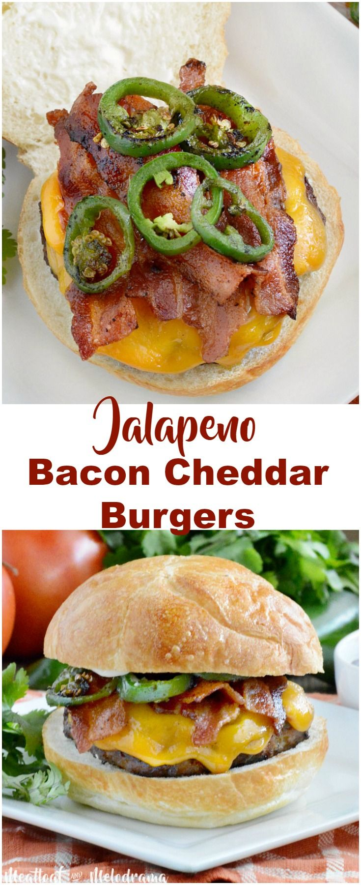 Jalapeno Bacon Cheddar Burgers - Thick and Juicy beef patties glazed with BBQ sauce and topped with cheddar cheese, crispy bacon and spicy jalapeno peppers are sure to be a hit at your next summer cookout! Perfect for Memorial Day or 4th of July barbecues! from Meatloaf and Melodrama