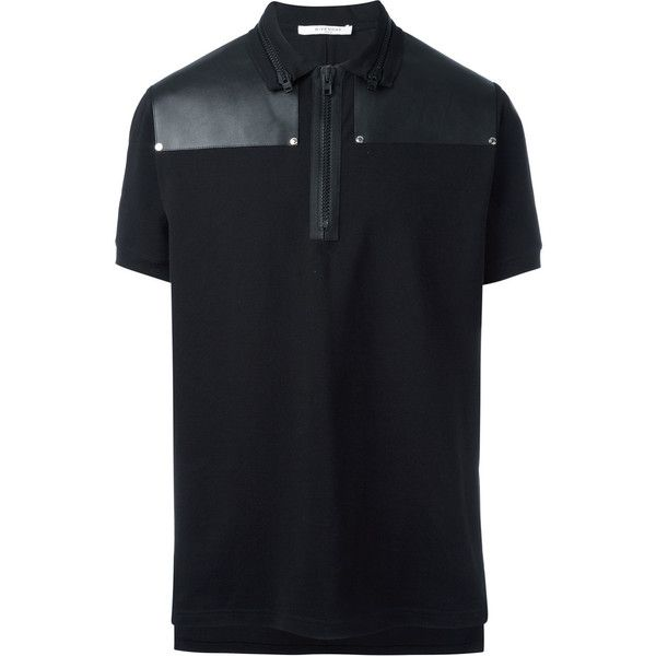 Givenchy zip collar polo shirt ($912) ❤ liked on Polyvore featuring men's fashion, men's clothing, men's shirts, men's polos, black, givenchy mens shirt, mens short sleeve shirts, mens polo collar shirts, mens short sleeve polo shirts and mens polo shirts