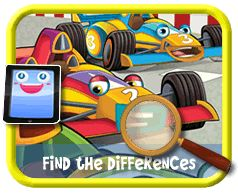 Toon Race Cars - Find the Differences Game for Kids