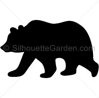 Grizzly bear silhouette clip art. Download free versions of the image in EPS, JPG, PDF, PNG, and SVG formats at http://silhouettegarden.com/download/grizzly-bear-silhouette/