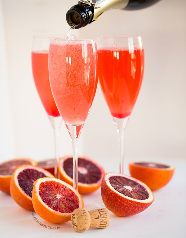 Blood orange bellinis are the perfect brunch drink! Recipe on tablefortwoblog.com
