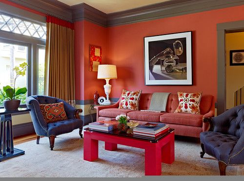 persimmon walls, gray trim - Jeffers Design Group: Wall Colors, Paintings Colors, Colors Palettes, Eclectic Living Rooms, Benjamin Moore, San Francisco, Jeffers Design, Design Group, Dark Grey Wall
