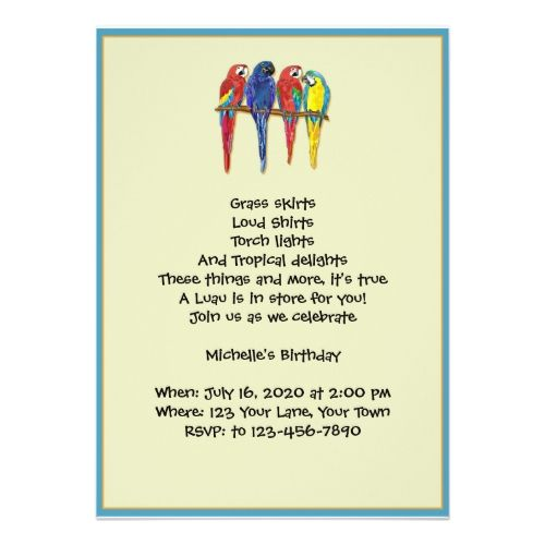 Luau Birthday Party Invitations Tropical Parrots Luau Party Invitation