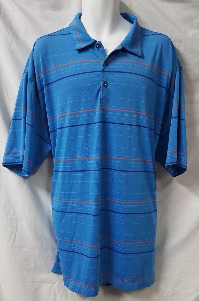 af3f3b137 Nike Golf Fit Dry Blue Striped Golf Polo Shirt Size XXL 2XL Short Sleeve # NikeGolf #PoloRugby
