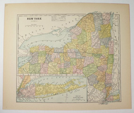 Vintage New York Map 1896 Antique NY Map, Long Island, New York Gift for Friend, New York Office Art Gift for Coworker, 1st Anniversary Gift available from OldMapsandPrints.Etsy.com #NewYorkState #NYVintageMap #EmpireState