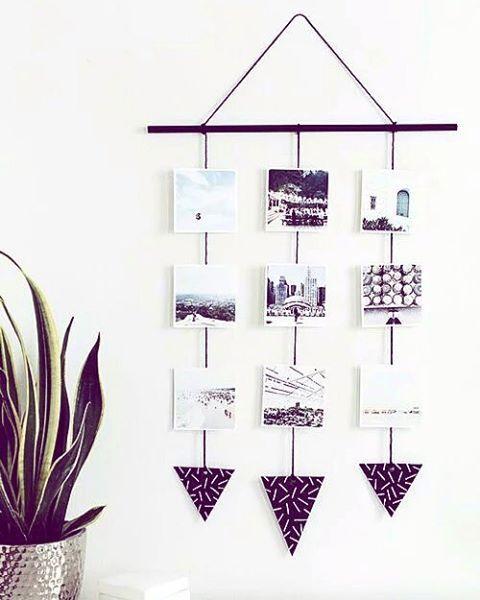 """""""Decoração de parede com fotos em estilo cascata, perfeito para colocar no quarto ou sala, deixando com estilo super moderno.…"""""""