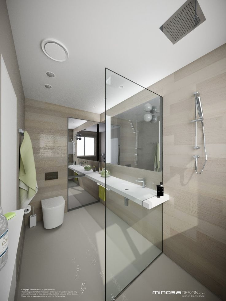 Minimalist bathroom oversized glass shower and neutral for Small modern bathroom designs 2012