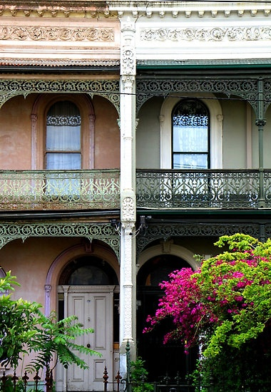 Terrace houses along Brunswick Street, Fitzroy, Victoria. Photo by Natalie Ord.