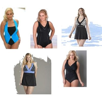 Swimsuits for Different Body Shapes. Swimsuits for Apple Shape. Women with apple-shaped bodies should look for swimsuits with wide or halter necks as they tend to lengthen the torso. If you don't want a bold-colored suit, go for big floral prints and not horizontal stripes. The stripes will only draw unwanted attention to your waist.